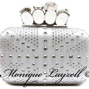Handbags - Silver satin Union Jack Skull knuckle Clutch